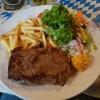 """""""Argentinische Rumpsteak(250 gr) mit Chilibutter, Pommes Frites und Salatbeilage"""" für 17,50 €"""